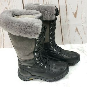 UGG Adirondack Tall Shearling Black Leather Boots